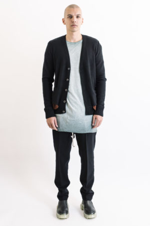 Ziggy Chen black Cardigan/red pockets